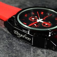 Herrenuhr Schwarz Rot Retro Fahsion Uhr Militär Unisex Chronograph Look Uhr