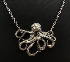 Silver-tone Octopus Necklace Pendant & Chain, Nautical Kraken Pirate (RF715)