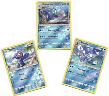 PRIMARINA BRIONNE POPPLIO- 3 EVO Pokemon Cards - SUN & MOON- REV HOLO - MINT