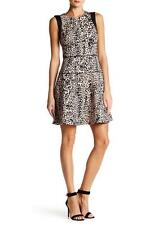 RACHEL RACHEL ROY MS SIZE 8 BLACK AND PINK NUDE ANIMAL PRINT FIT AND FLARE DRESS