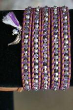 NEW Chan Luu Silver Swarovski Crystal 5 Wrap Feather Tassel Charm Bracelet Purpl