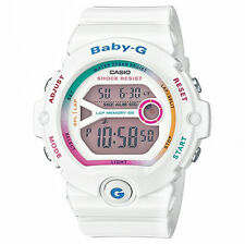 Baby-g Women's Quartz Watch With Grey Dial Digital Display and White Resin Strap