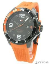 New Tommy Hilfiger Keith Orange Rubber Men Date Watch 50mm 1791154 $135