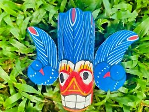 Mask Wooden Wall Art Hand Carved Decor Devil Sculpture tiki home Ornament Gift
