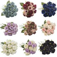 Head Decor Home 12 Artificial Peony Wedding Fake Rose Silk Bouquet Bridal Flower