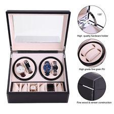 Watch Winder Storage Display Case Box Black 4+6 Automatic Rotation Leather Wood