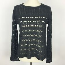 CUPIO Gray Open Weave Bell Sleeve Pullover Sweater - Size Small