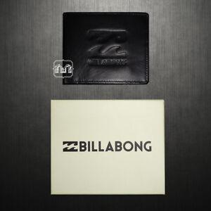 New Men Billabong Wave Black Leather Wallet Bi-fold Emboss Logo Zip Coin Pocket