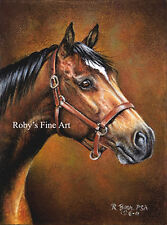 """Horse Art Print """"Thoroughbred"""" Horse Giclee 5""""x7"""" Image by Artist Roby Baer PSA"""