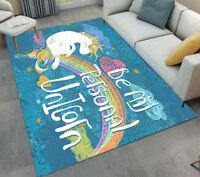 Fairy Unicorn Area Rug Living Home Room Floor Carpet Bedroom Rugs Kids Play Mat