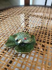 Adorable Little Bejewelled And Enamelled Frog On Lily Pad Trinket Box