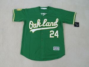 OAKLAND A'S Legend #24 Rickey HENDERSON Stitch Green Jersey Men L NEW Sweet^