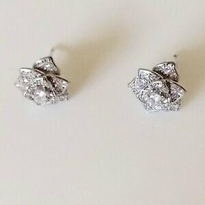 QVC Diamonique Epiphany Platinum Clad Multi-stone Petal Earrings - NEW