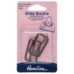 HEMLINE SLIDE BUCKLE BLACK - 16mm x 30mm - 2 pack BAG MAKIING   – 4502.30.NB