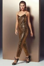BNWT NEXT STUNNING  GOLD SEQUIN PLAYSUIT JUMPSUIT LINED SZ 14 PETITE  NEW