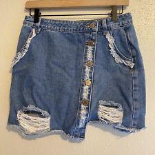 8th Of LA Distressed Denim Mini Skirt. Size M Asymmetric Hem Button Up