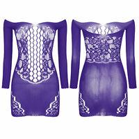 7Color Women Fishnet See Through Mini Dress Sexy Lingerie Nightwear Clubwear US
