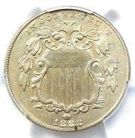 1883/2 Shield Nickel 5C Coin - PCGS AU Details - Rare Overdate 1883/2 Variety!