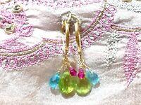 "colorful gemstone earrings elegant charming drop dangle 14k gold 1"" lever backs"