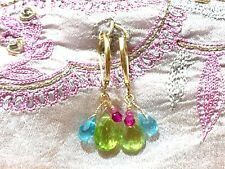 "colorful gemstone earrings drop dangle 18k gold 1"" real gems cluster leverbacks"