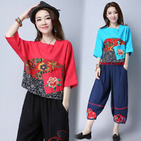 New Womens Embroidered T-shirt Chinese Folk Floral Top Cotton Linen Short Sleeve