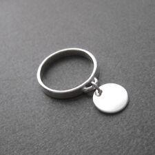 Bague anneau breloque pastille en pampille argent 925 T. 52,54,56,58 BA84a