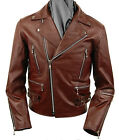 Men's Leather Brown Multi-Use Fashion Casual Zipper Motorcycle Jacket New