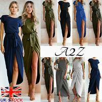 Womens Ladies Summer Midi Dress Bodycon Plus Size Maxi Tie wrap Short Sleeves UK