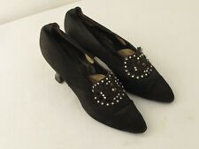 Antique Ladies Shoes Black Satin Rhinestones Heels and Clips 1920's
