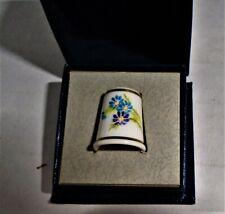 Vintage Royal Worcester Bone China HP Thimble Signed S. Rob Blue Flowers NIB