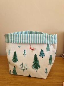 Handmade Joules Christmas Fabric Basket , Storage , Home Decor.