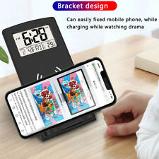 Qi Wireless Fast Charger Pad Stand Dock For Samsung iPhone XS w/ Calender&Clock