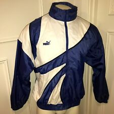 Vtg 90s PUMA Blue White Colorblock windbreaker MENS LARGE Track Coat Jacket L