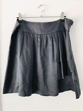 KACHEL Size 12 Grey 100% Silk Soft Floaty Casual/Formal Front Pockets Mini Skirt