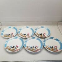 6pc Disney Mickey Mouse Minnie Mouse Goofy Donald Ceramic Dinner Plate Set