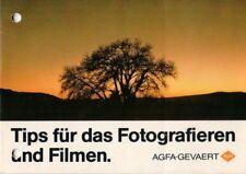 AGFA - Prospekt Broschüre Tips für Fotografieren und Filmen Kameras - B9629