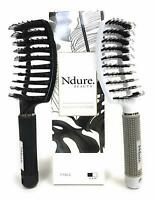 Curved Vented Boar Bristle Styling Hair Brush, 2 PACK, White & Black Brush Set