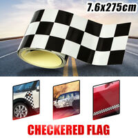 3'' Checkered Flag Vinyl Decal Tape Car Auto Bike Motorcycle Tank Sticker Black
