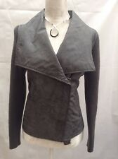 Green Rocha.John Rocha Leather Feel  Biker Jacket with Knit Sleeves UK 12.    B3