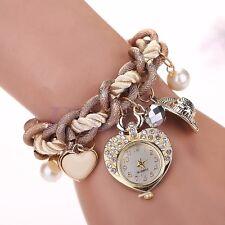 Fashion Women Rhinestone Dial Stainless Steel Heart Jewelry Bracelet Wrist Watch