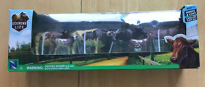 Country Life Plastic Set of Six Cattle Different Poses by New Ray Toys