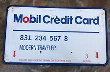 "Vtg 1970s Mobil Credit Card Advertising Sign Tin 23.5"" Mobiloil Gas Station"