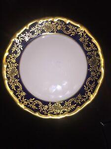 ECHT WEIMAR COBALT HEAVY GOLD TRIM DESSERT PLATE *KATHARINA* 20003 VINTAGE