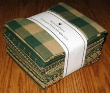 Dunroven House 12 Hunter Green Primitive Homespun Fabric  Fat Quarter Bundle