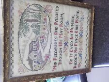 Antique C.1860S Multi-Colour Sample-No Place Like Home-Just A Beauty!