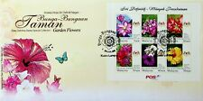 MALAYSIA 2009 GARDEN FLOWERS STATE DEFINITIVE SERIES 6v SHEET ON ILLUSTRATED FDC