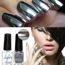 Fashion 2pc/lot 6ml Silver Mirror Effect Metal Nail Polish Varnish Set US