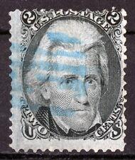 USA DIAMOND STAMP,1867,Andrew Jackson 2 ¢ - Black,Grill,12 x 14mm,Scott # 84