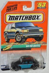 Matchbox 1999 #53 Beach Series 11 62 VW BUG Beetle black MOC VHTF Mattel 36446