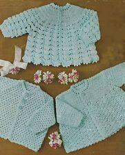 "Baby Crochet Pattern Three Matinee Jackets 18-22"" 4ply 281"
